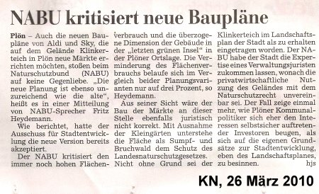 Bericht KN vom 26. März 2010