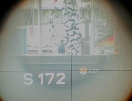 Turm U 23, aufgenommen durch das Sehrohr