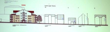 Die Gebäude der Hamburger Straße im Profil